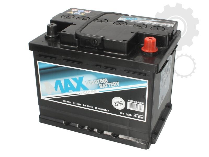 4MAX  12V  55 Ah jobb + normál autó akkumulátor
