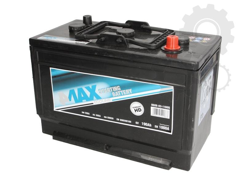 4MAX 6 V 190 Ah jobb + teherautó akkumulátor