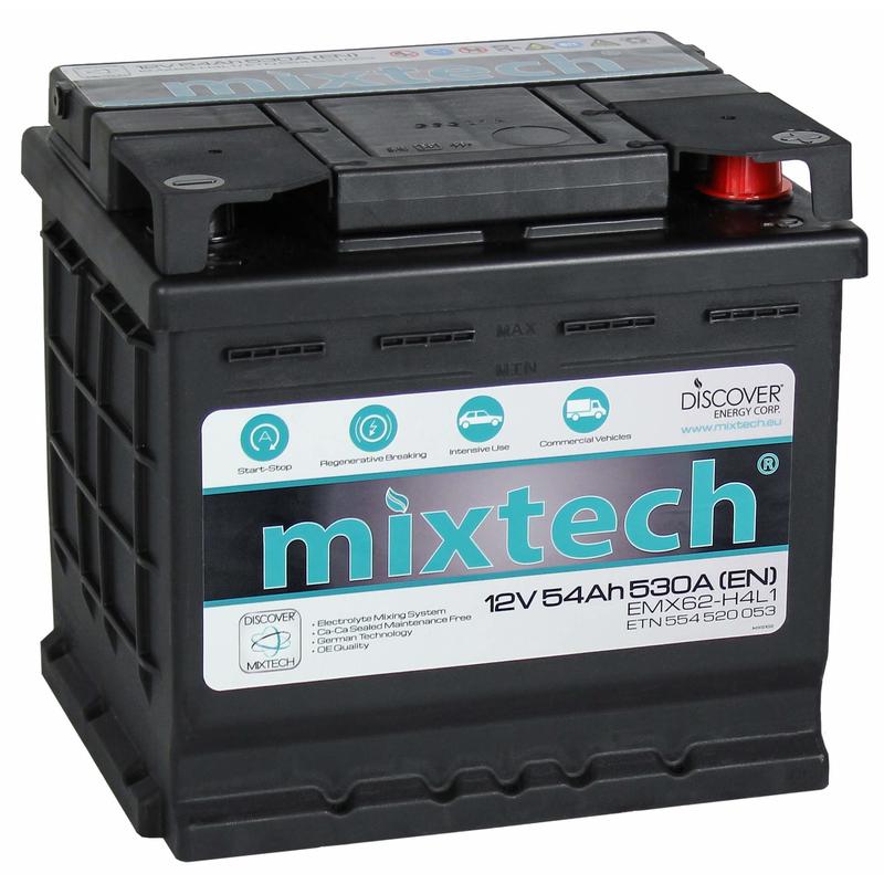 Mixtech 12V 54 Ah jobb + normál sarus  autó akkumulátor
