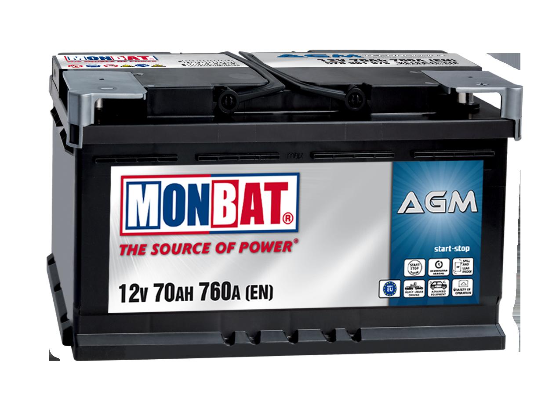 Monbat  AGM 12V 70 Ah jobb + start & stop rendszerű autó akkumulátor