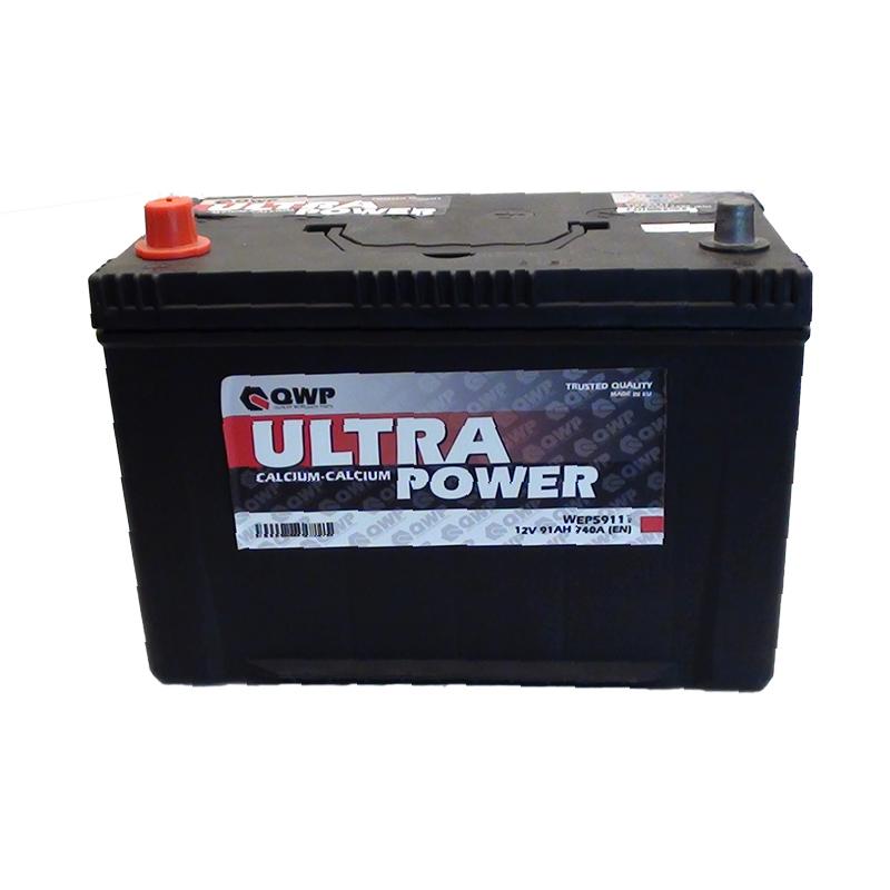 QWP Ultra 12V  91 Ah bal + normál teherautó akkumulátor