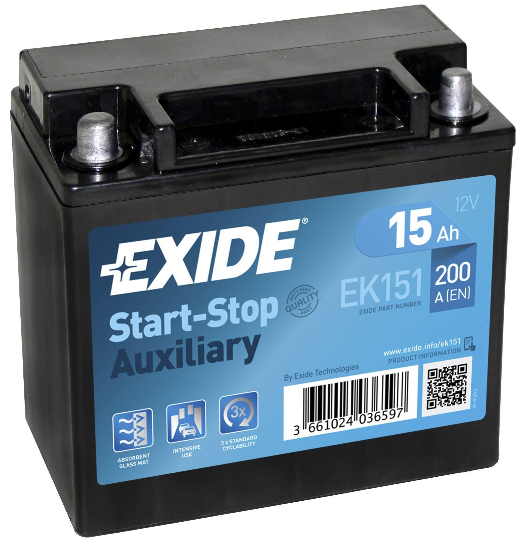 EXIDE  12V  15 Ah bal + normál Start & Stop rendszerű akkumulátor