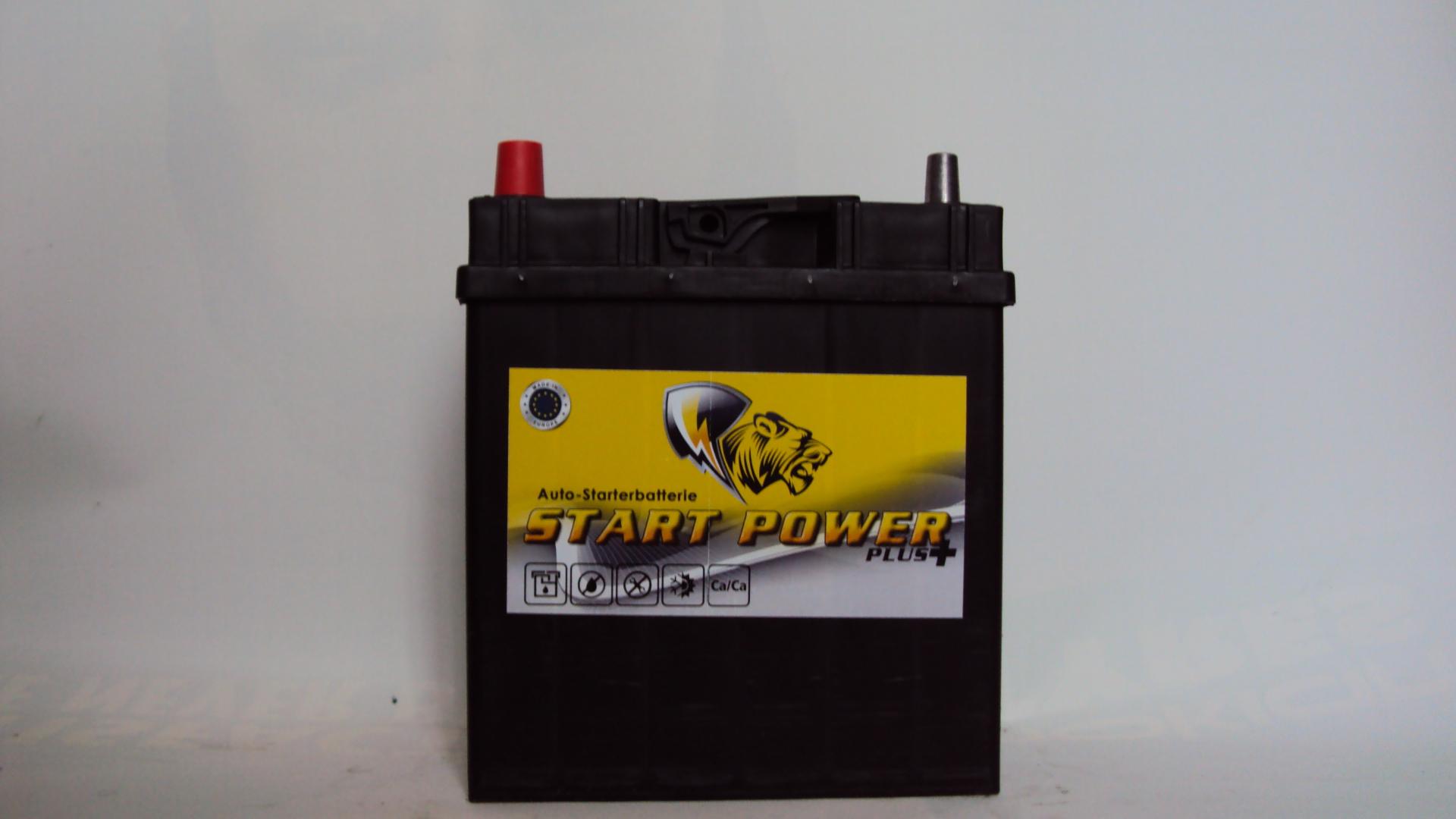 Start Power Asia 12V  35 Ah bal + vékony autó akkumulátor