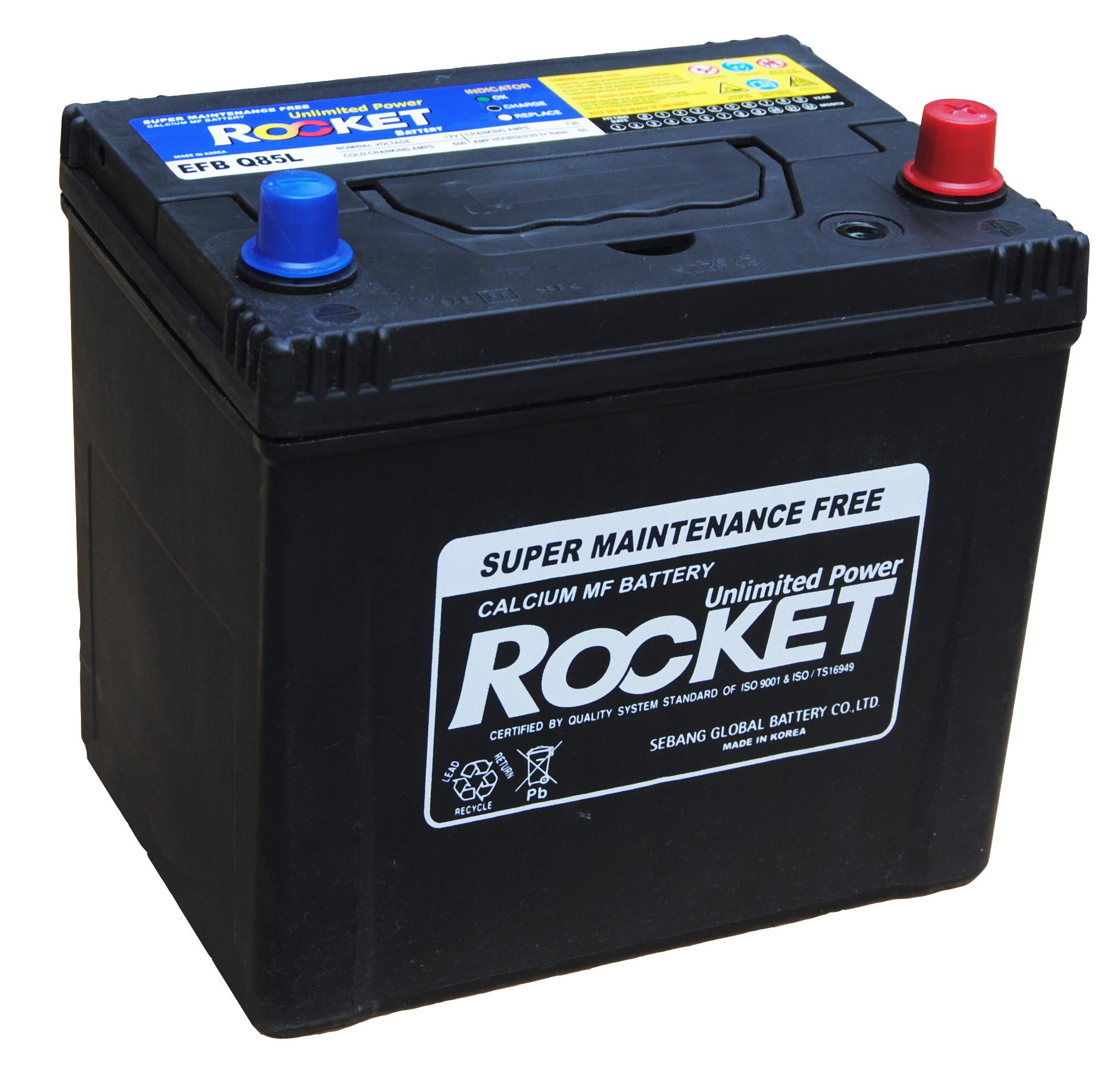 Rocket 12V 65 Ah jobb + normál sarus start / stop rendszerű autó akkumulátor