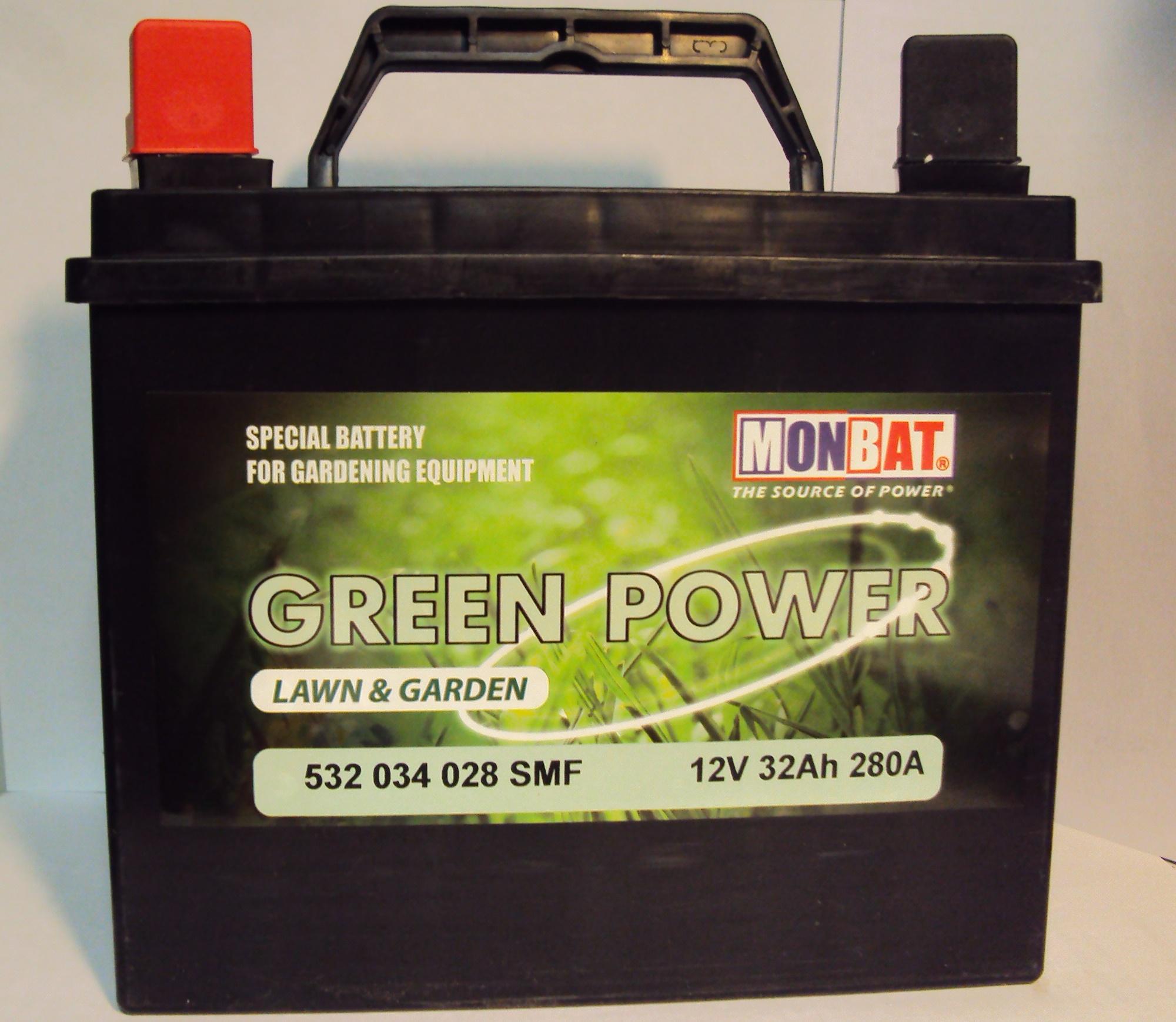 MONBAT fűnyíró akkumulátor 12V  32 Ah bal +  fűnyíró akkumulátor