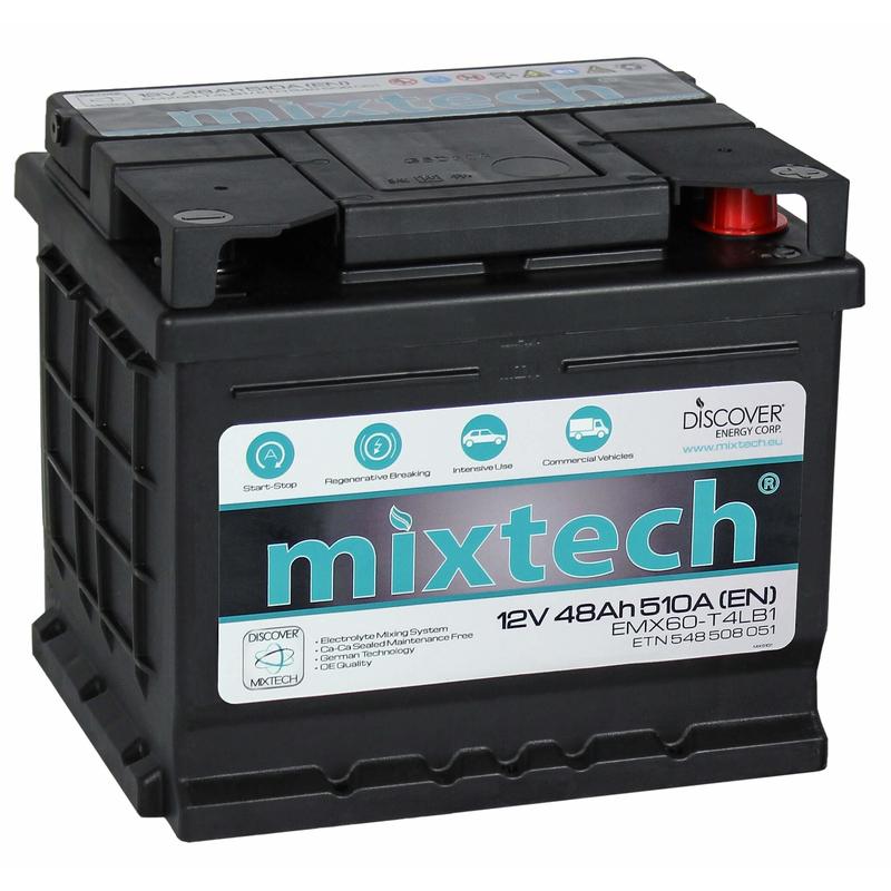 Mixtech 12V 48 Ah jobb + normál sarus  autó akkumulátor