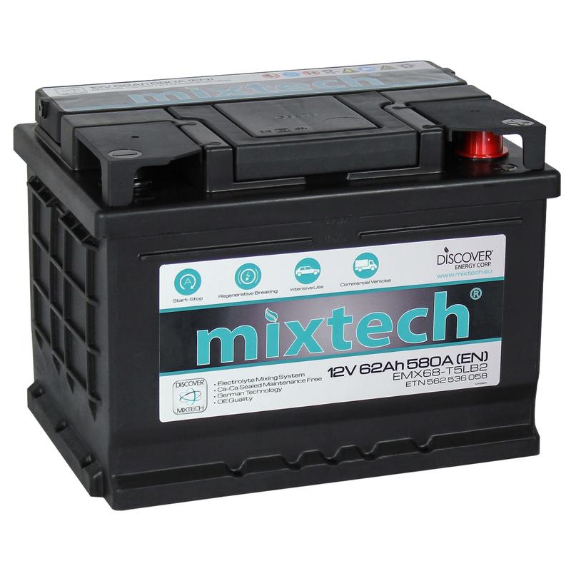 Mixtech 12V 62 Ah jobb + normál sarus  autó akkumulátor