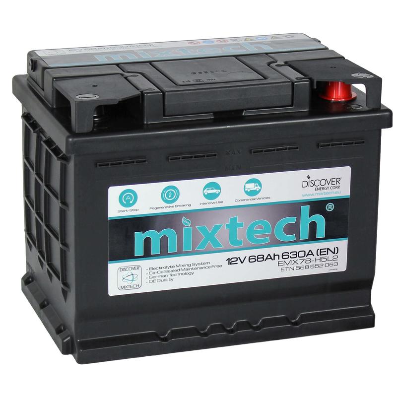 Mixtech 12V 68 Ah jobb + normál sarus  autó akkumulátor