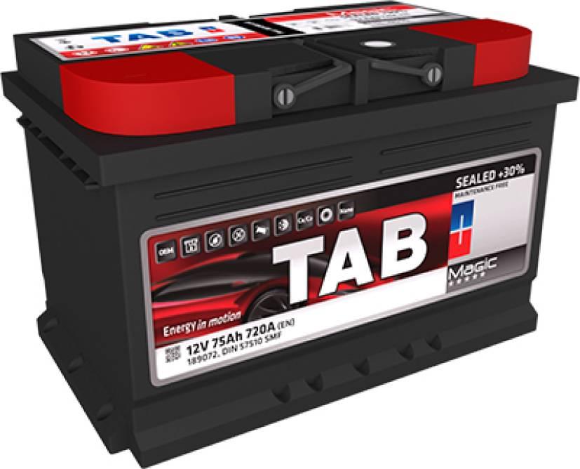 TAB Magic (SMF, ME) 12V  75 Ah jobb + normál autó akkumulátor