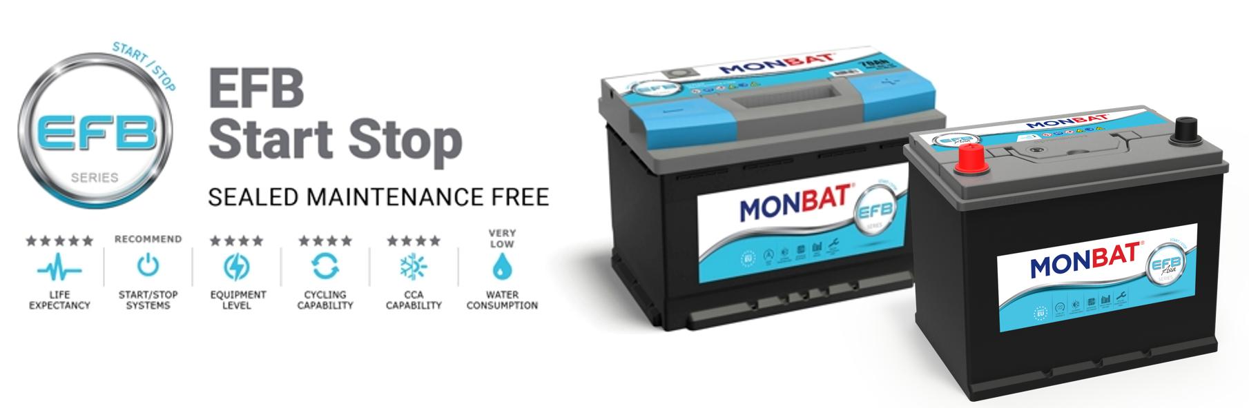 Monbat  EFB 12V  65 Ah JAPÁN jobb + start & stop rendszerű autó akkumulátor