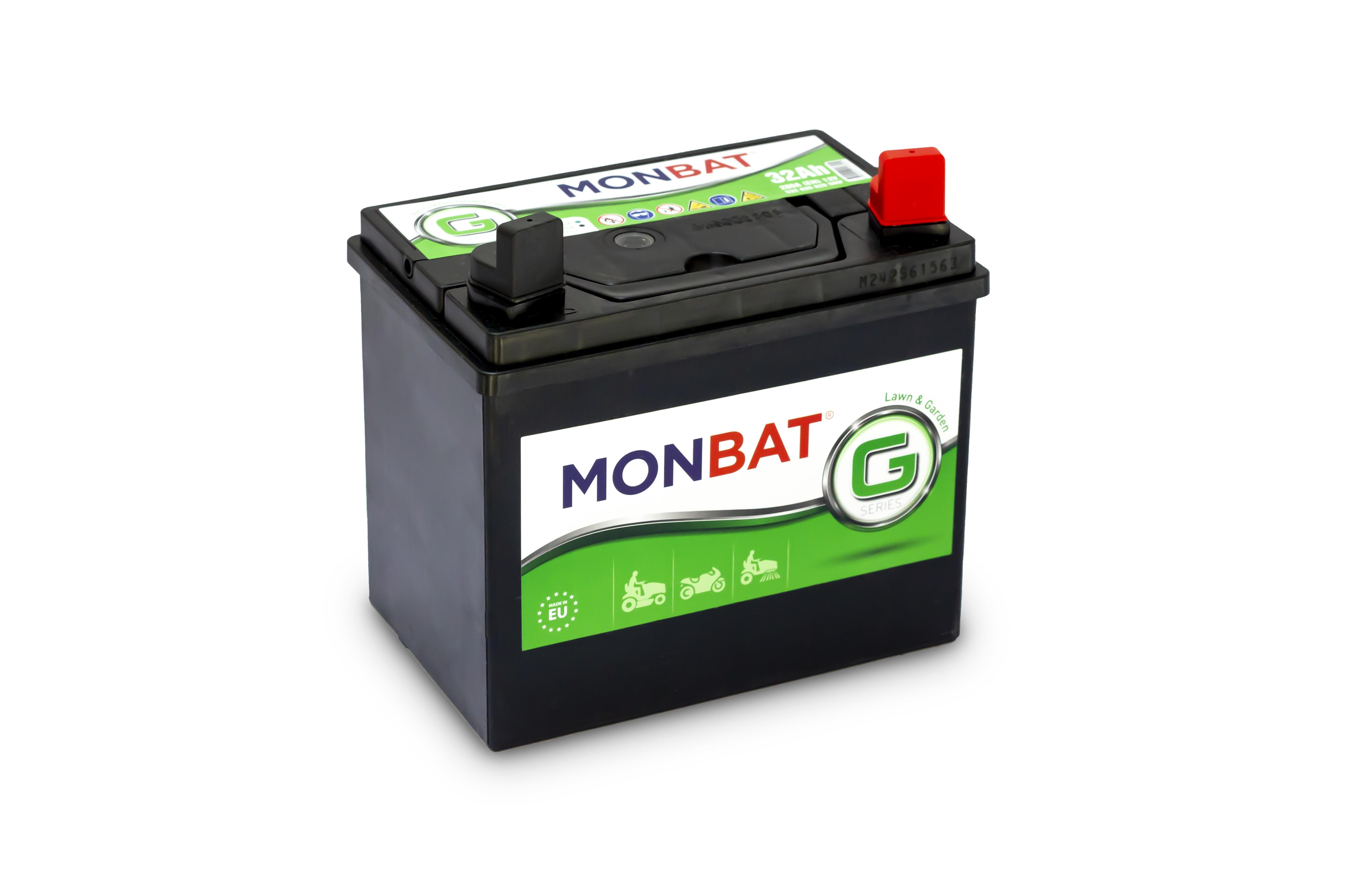 MONBAT fűnyíró akkumulátor 12V  32 Ah JOBB +  fűnyíró akkumulátor