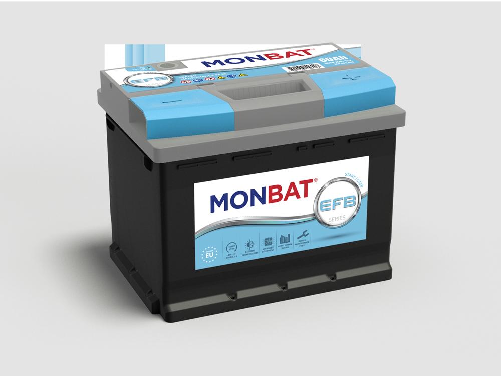 Monbat  EFB 12V  60 Ah jobb + start & stop rendszerű autó akkumulátor
